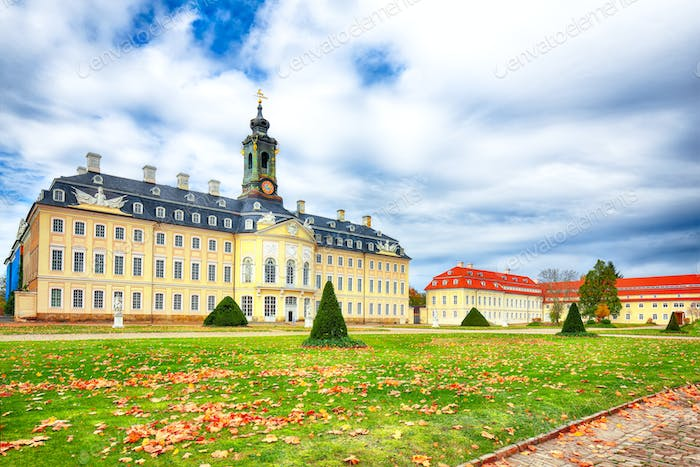 Picturesque autumn view to the Hunting Castle Hubertusburg