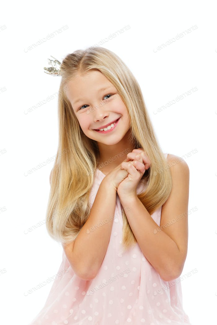 happy beautiful girl with crown on head