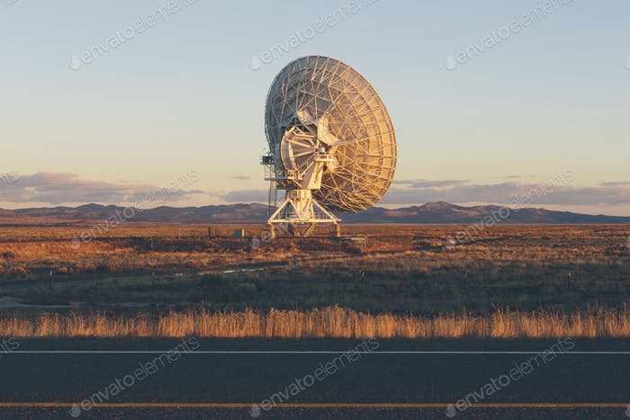 Large radio antennas, also know as The Very Large Array (VLA), used to search for extra-terrestrial