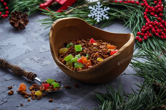Granola with candied fruit