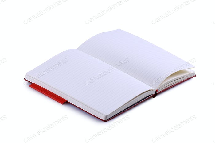 Opened Notebook Lined Pages Isolated