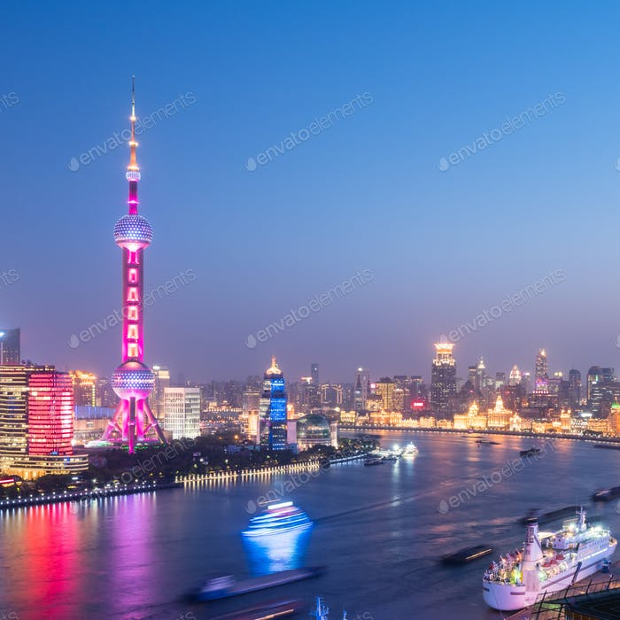 shanghai cityscape in nightfall