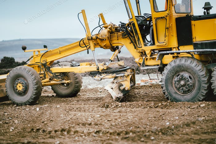Autobahn Baustellenentwicklung mit Motorgrader beweglichen Erde, Boden
