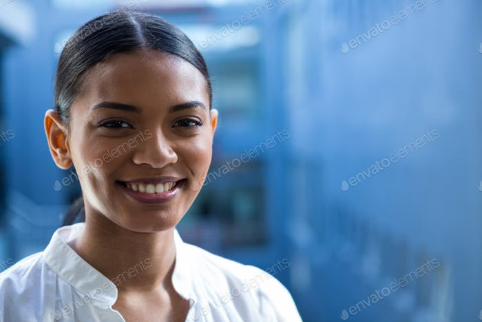 Business executive smiling in office