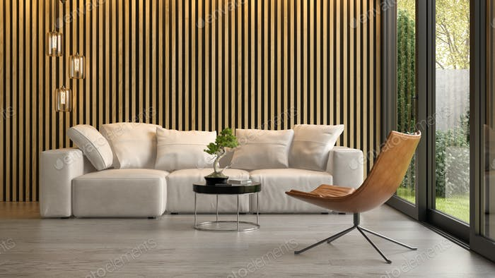 Interior of modern living room with sofa 3D rendering