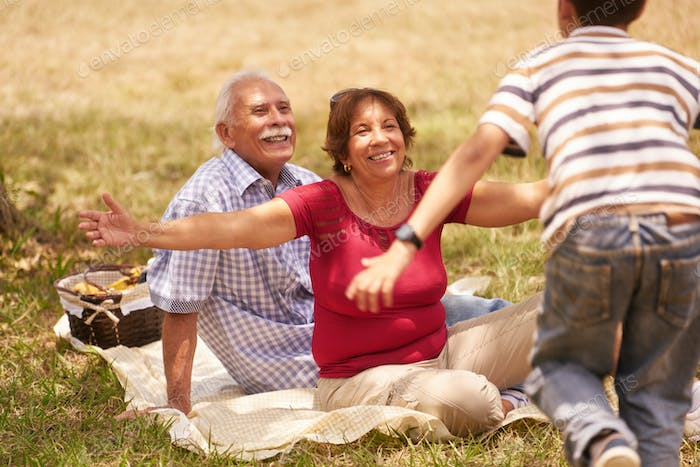 Grandparents Senior Couple Hugging Young Boy At Picnic