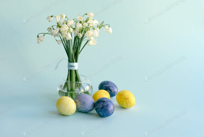 Easter composition in pastel colors horizontal orientation