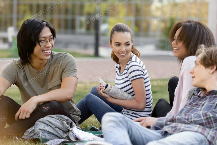 Cheerful group of multiethnic students studying outdoors.