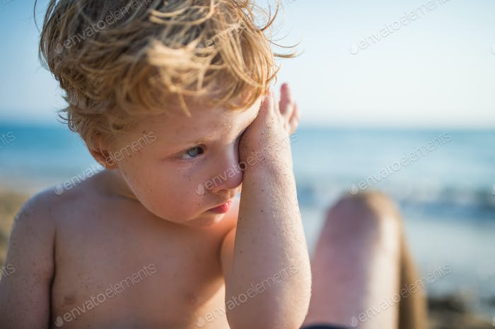 A close-up of small toddler boy on beach on summer holiday. Copy space.