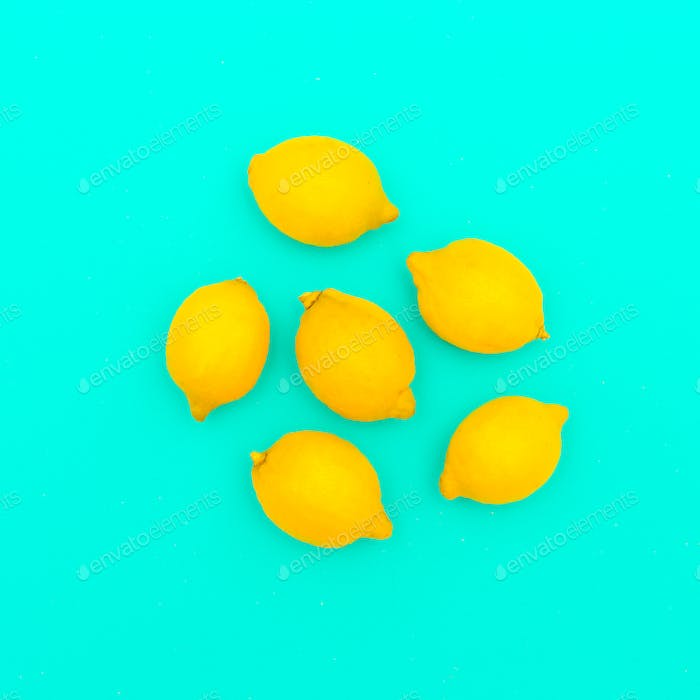 Lemons. Vitamin C. Creative minimal art