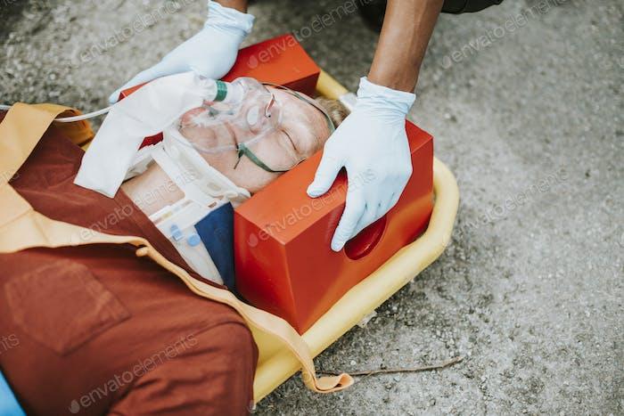Paramedic team rescuing a critical patient