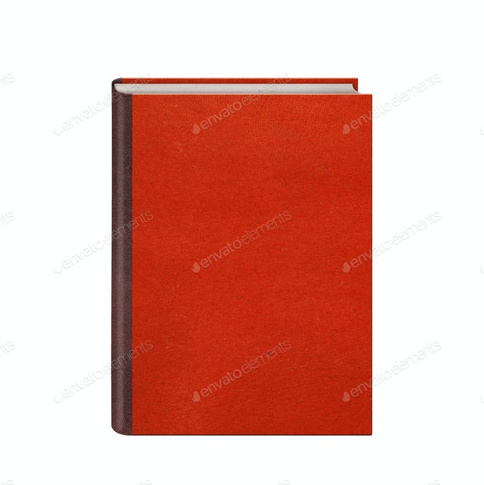 Book with red leather hardcover isolated