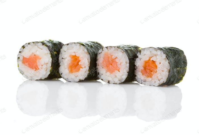 Sushi rolls isolated on a white background.