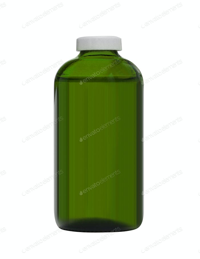 Blank packaging glass supplement bottle isolated on white