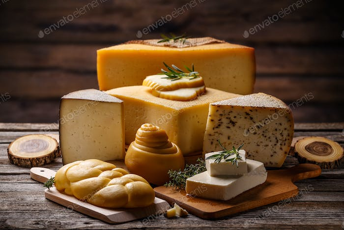 Composition of assorted cheese