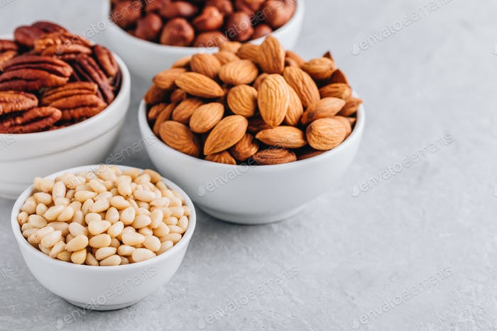 Pine nuts, almonds, pecans and hazelnuts