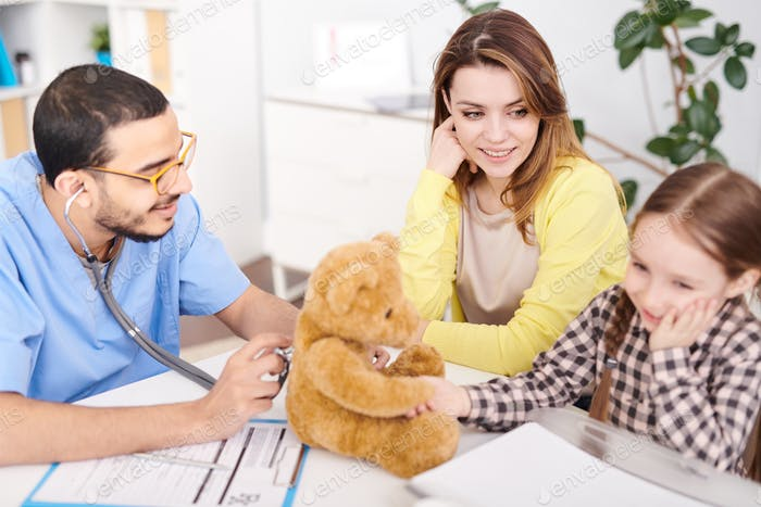 Pediatrician Examining Teddy Bear