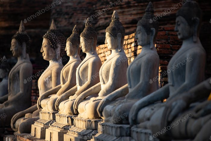 Sitting buddha statues at Wat Yai Chai Mongkhon temple in Ayutth