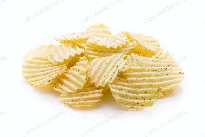 Eco potato chips on a white background.