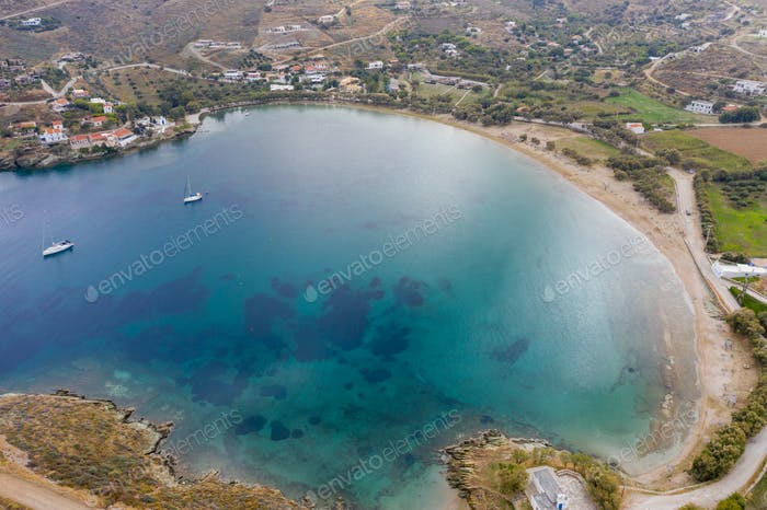 Kea Tzia island, Cyclades, Greece. Otzias bay and beach aerial drone view