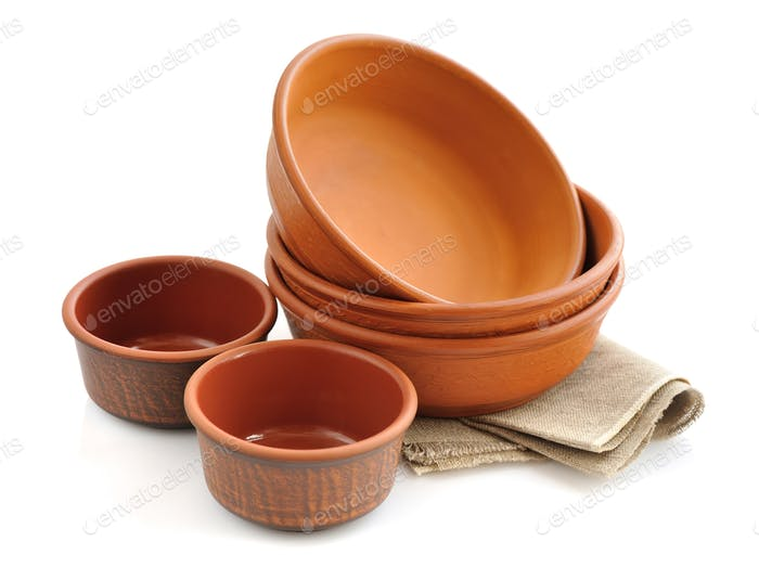 Ceramic tableware on white background