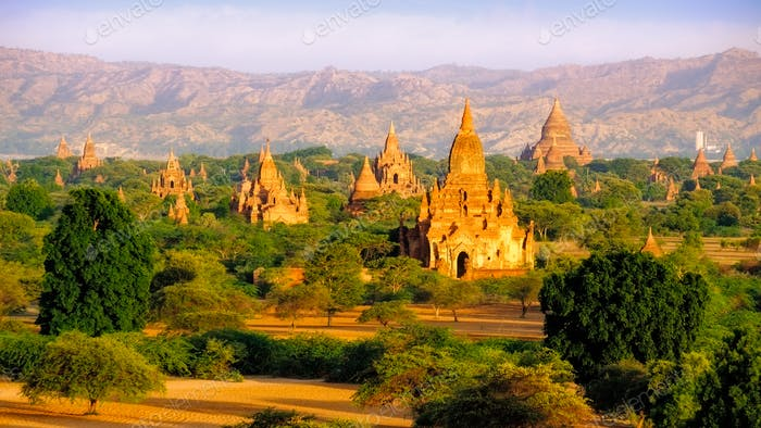 Sunrise landscape view of beautiful old temples in Bagan, Myanmar