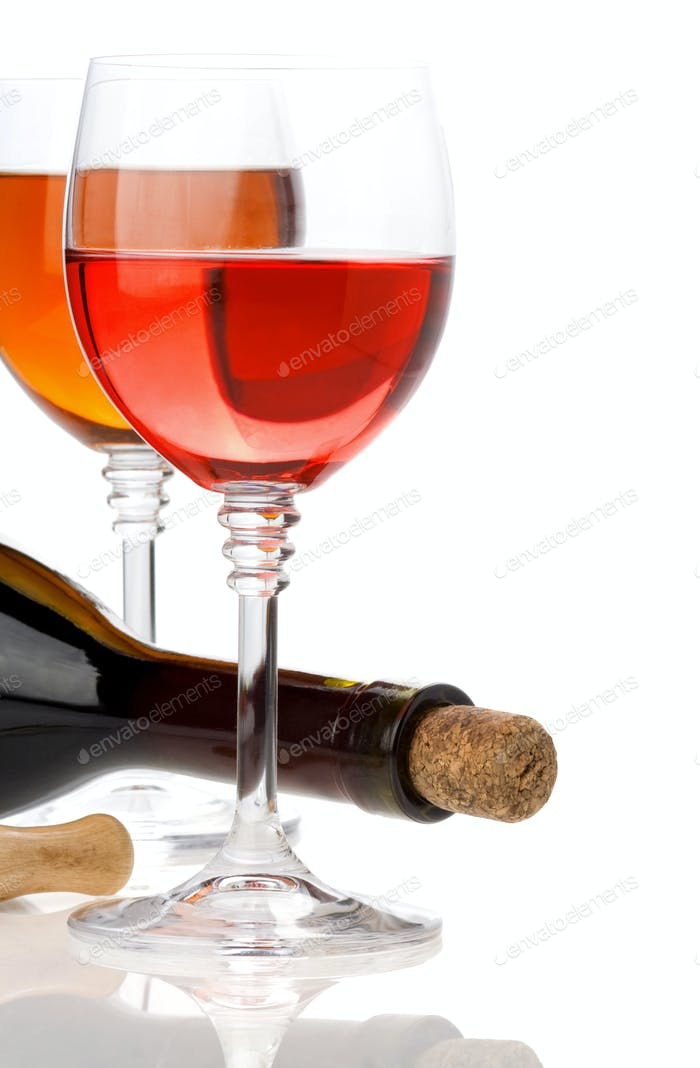 wine in glasses and bottle isolated on white