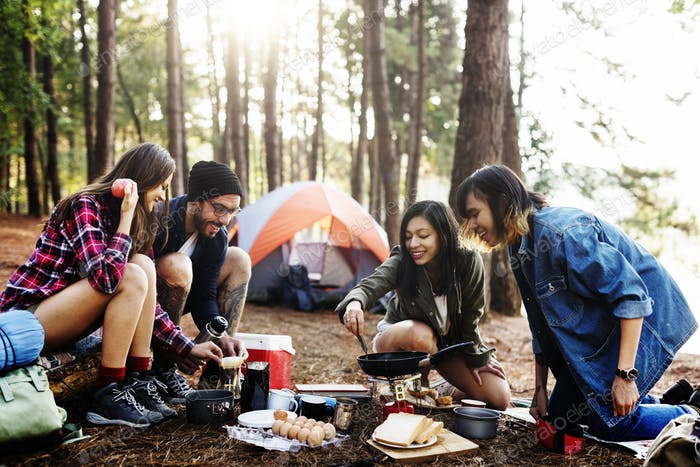 Breakfast Camping Eggs Relax Cooking Concept