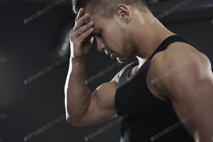 Big muscles of handsome man