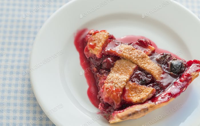 Cherry pie on the plate