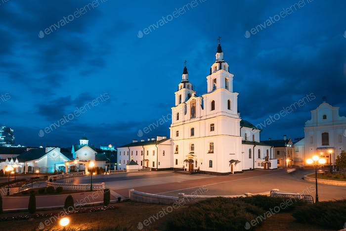 Minsk, Belarus. Illuminated Cathedral Of Holy Spirit In Minsk At