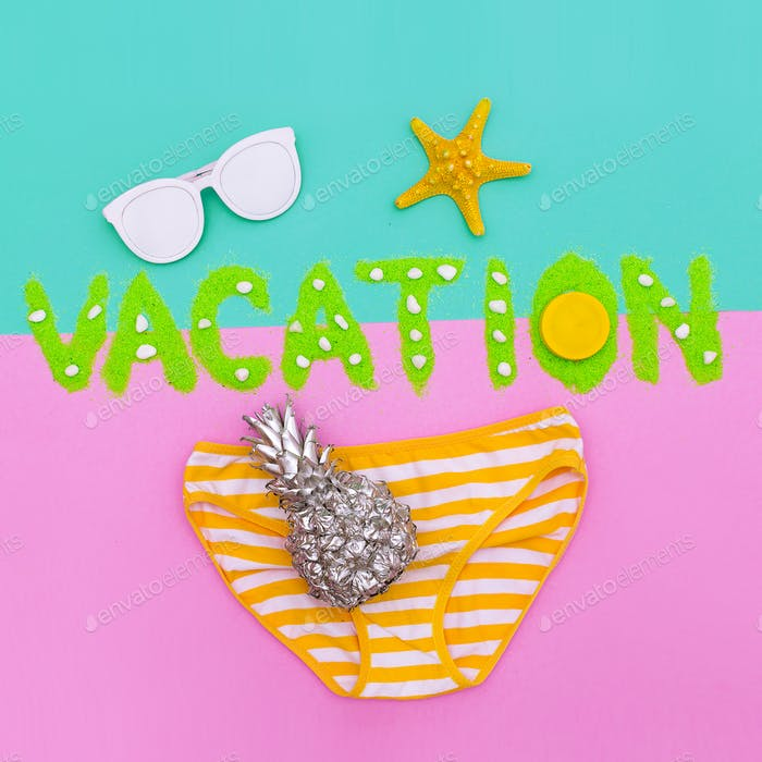 Tropical Beach Vacation Minimal set fashion art