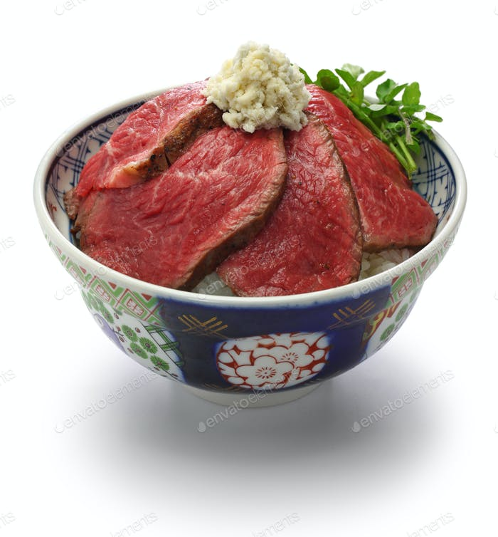 wagyu roast beef bowl, japanese cuisine