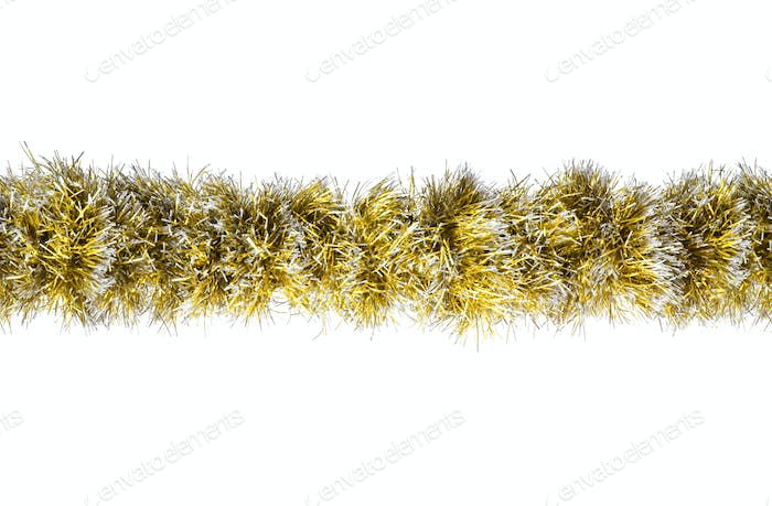 Seamless Christmas gold silver tinsel