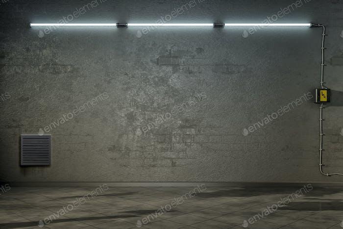 dark room with three neon lights