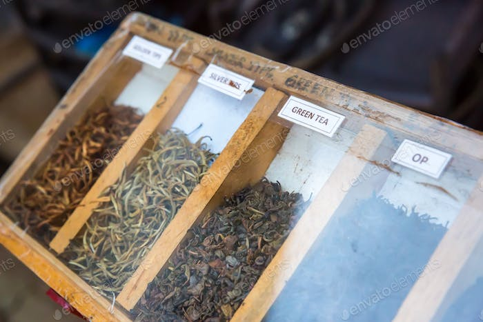 Collection of fresh Ceylon teas, closeup view