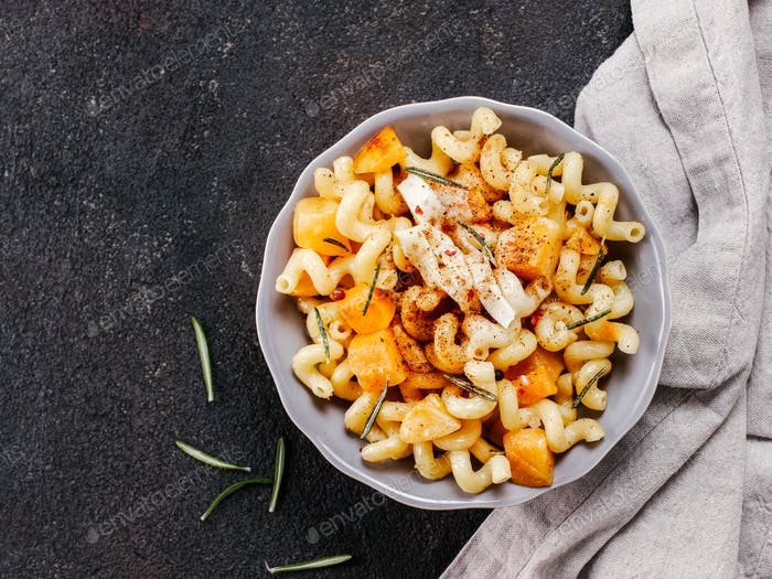 Thumbnail for Fusilli pasta with pumpkin, rosemary and brie