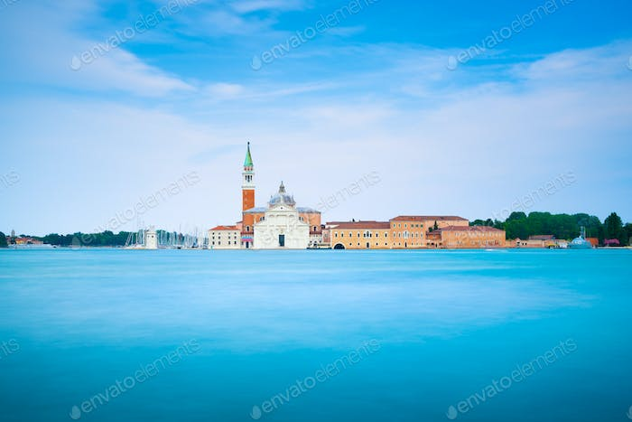 Venice lagoon, San Giorgio church. Italy. Long exposure