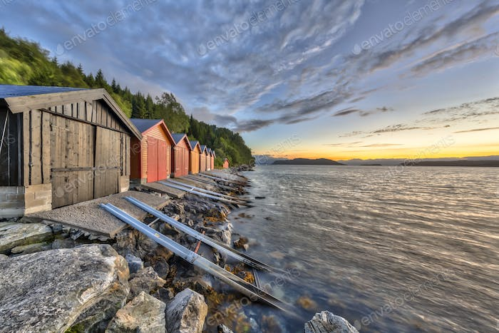 Colorful Boathouses in Norwegian fjord