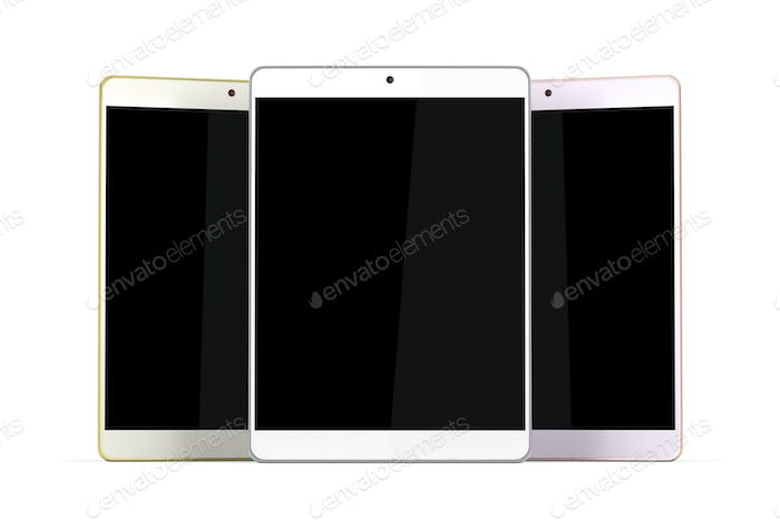 Three tablet computers with different colors on white background