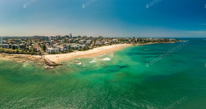 Aerial panoramic image of ocean waves on a Kings beach, Caloundr