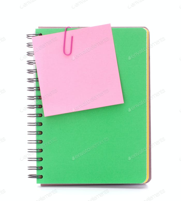 notebook with notice paper