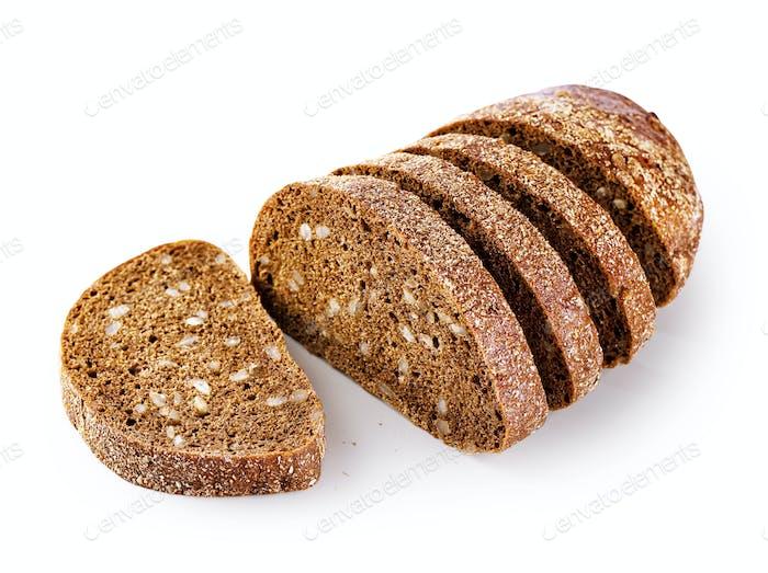 Sliced loaf of rye bread