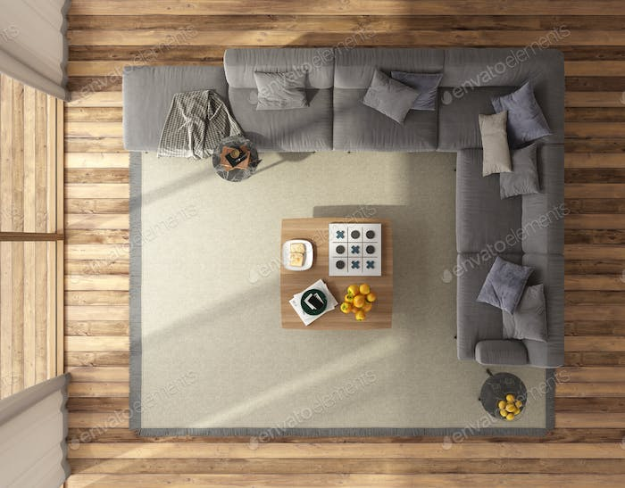 Top view of a modern living room with large sofa