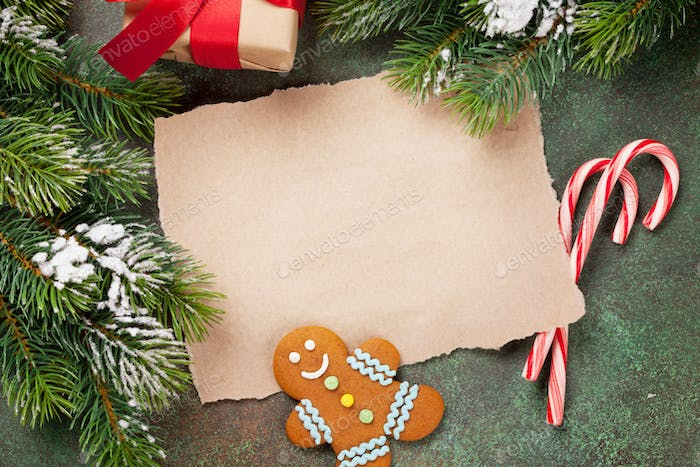 Piece of paper for christmas wishes