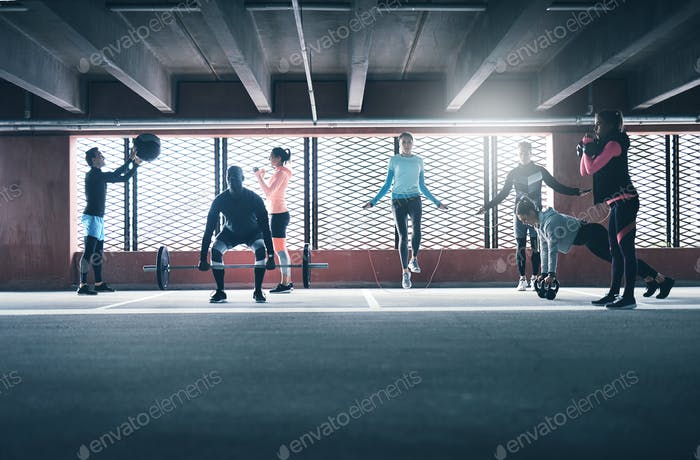 Group of people exercising together