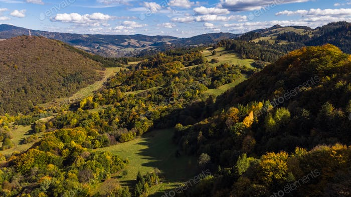 Beautiful Autumnal Foliage in Woodlands in Pieniny Mountains. Dr