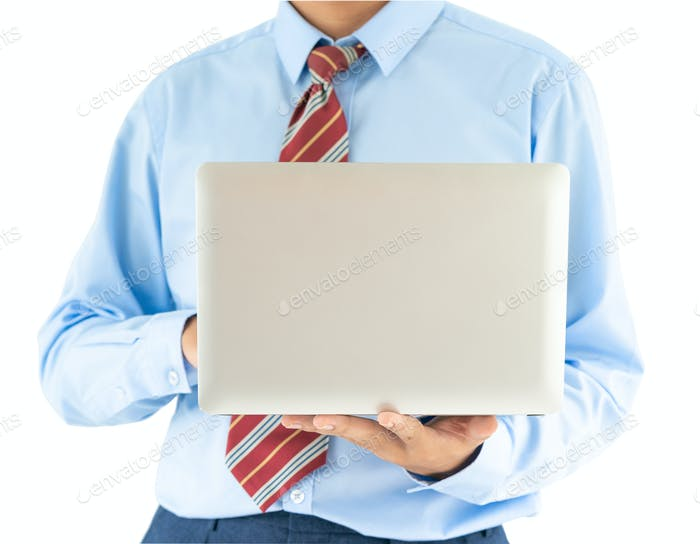 Businessman holding a laptop with clipping path 10