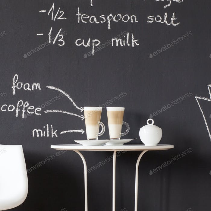 Minimalistic table with coffees