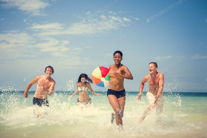 Beach Ball Friends Summer Vacation Travel Concept